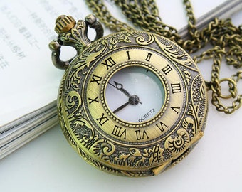 1pcs Antique Bronze  Large Roman numerals Charms Pendant Watch  with chain  Pocket watch necklace