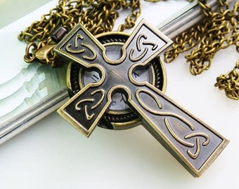 1pcs Antique Bronze  Cross  Watch Charms Pendant with chain