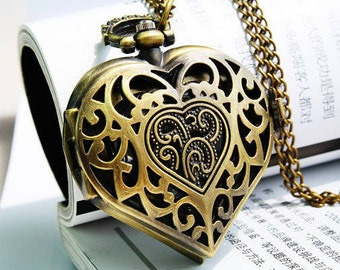 1pcs Antique Bronze  Heart-shaped  Watch Charms Pendant with chain ty144422