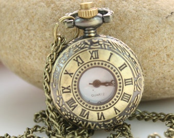 1pcs Antique Bronze   Watch Charms Pendant with chain ty140708