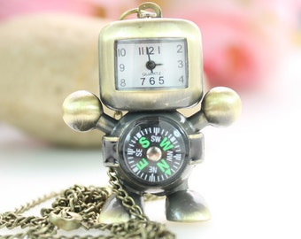 1pcs Antique Bronze Robot Compass  Watch Charms Pendant with chain ty140705