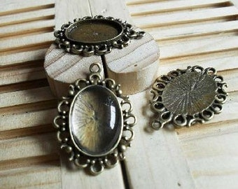 10pcs Antique Bronze Vintage  Oval Cameo Cabochon Base Settings inner 13x17mm tabD64