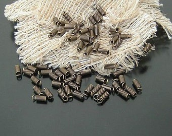 200 pcs 6x3mm Antique Bronze Vintage Brass Spring Connectors Clasps for Necklace tm