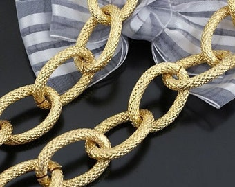 3.2 ft (1 m) 27x18mm heavy Large Vintage Imitation Gold Oval Pressing Points Thick cable Chains Links Bracelets Jewelry
