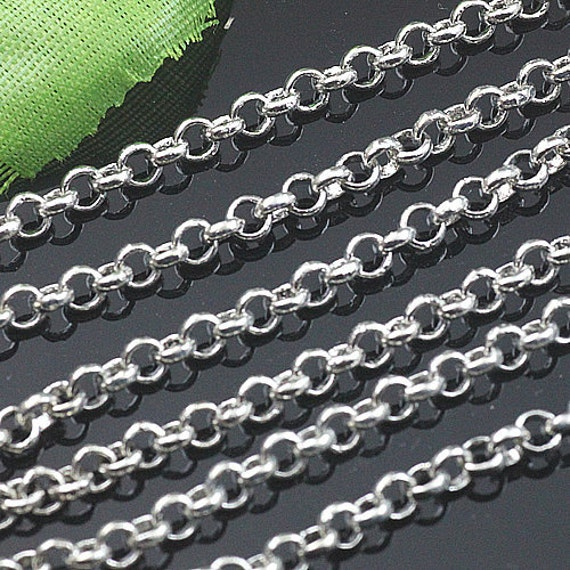 16 ft(5m) of  White gold plated brass Cruderound cable chain  3mm