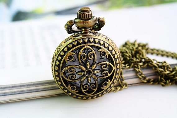 1pcs Antique Bronze   Watch Charms Pendant with chain ty146582