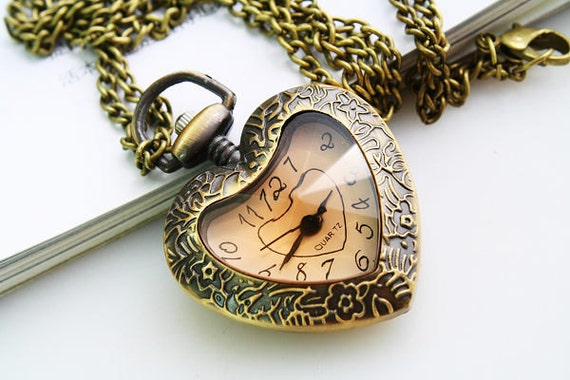 1pcs Antique Bronze Love Heart Watch Charms Pendant with chain
