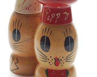 Vintage Wooden Salty Peppy Shakers