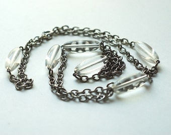 Vintage Silver tone and Clear Lucite Bead Long Necklace
