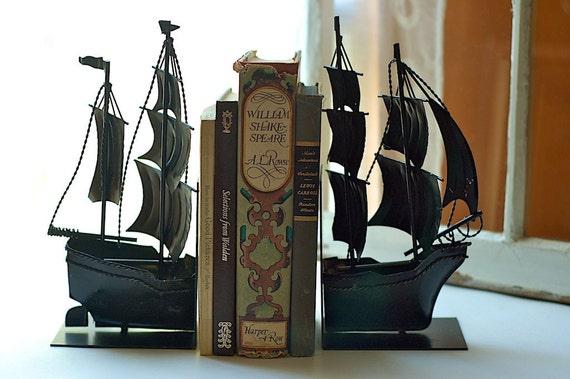 Vintage Black Metal Sailing Ship Bookends