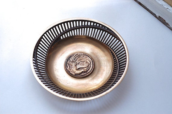 Vintage Bowl Solid Brass Cylindrical Design with Phoenix