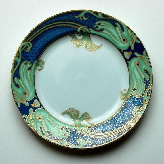 Vintage Green Dolphin Street Fitz Floyd Fantasy Sea Art Plate