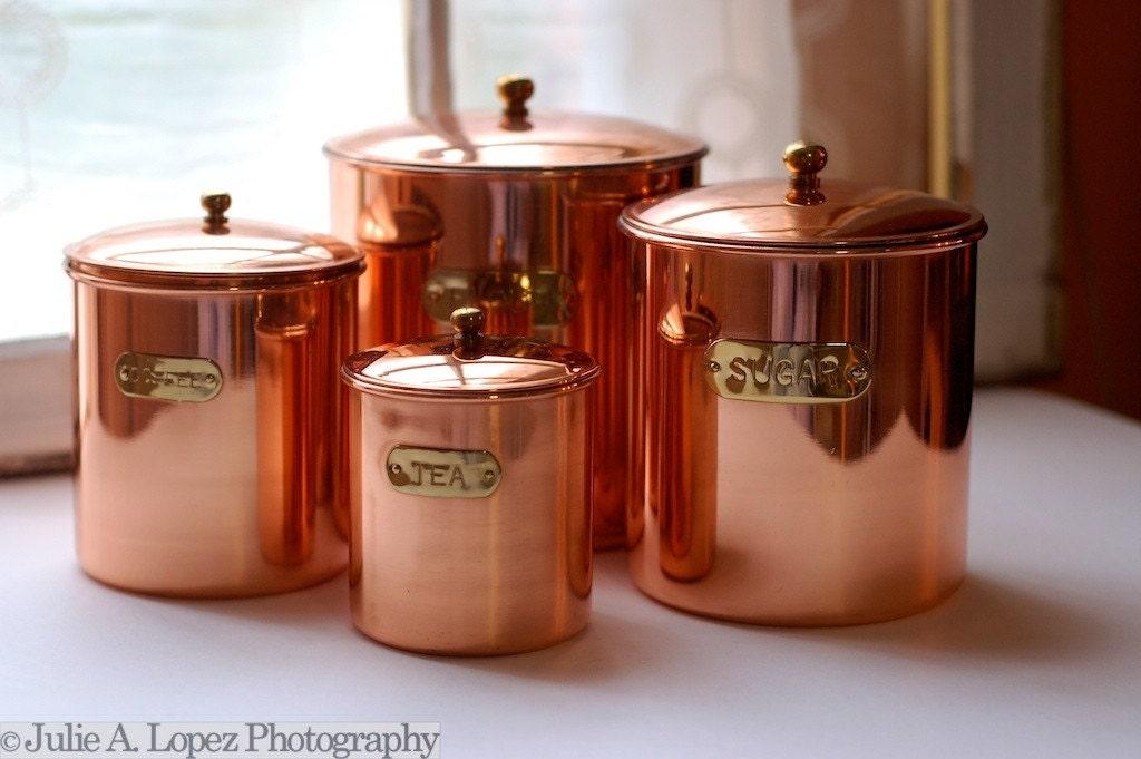 Vintage Solid Copper Canister Set