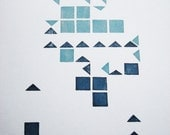 Blue and Blue, square and triangle abstract print