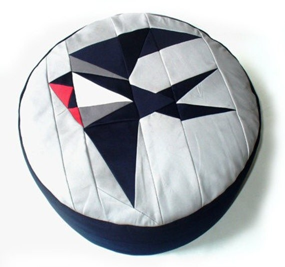 Origami Swallow Patchwork Pouffe