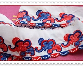 Vintage Fabric Trim : Baby Fabric, Beautiful Vintage Embroidered Elephant Trim For Children Related Projects