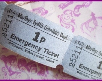 Vintage Tickets : 10 Original One Penny Unused Tickets British Bus tickets