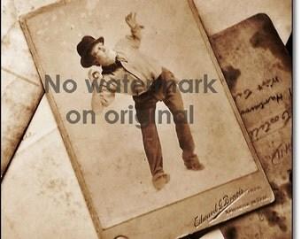 Vintage Studio Card, Original Vintage Large Studio Cabinet Card: The Actor - Part 1