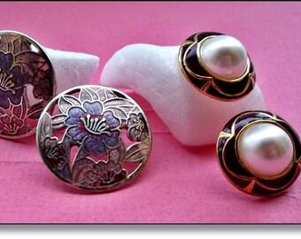 Vintage Earrings, Retro Art Nouveau Style Earrings : 2 Pairs