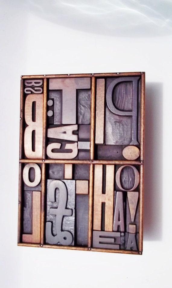 Wooden Printers Block/Letterpress : 1900s Beautiful Antique Assemblage - 22 Letters/symbols In Total