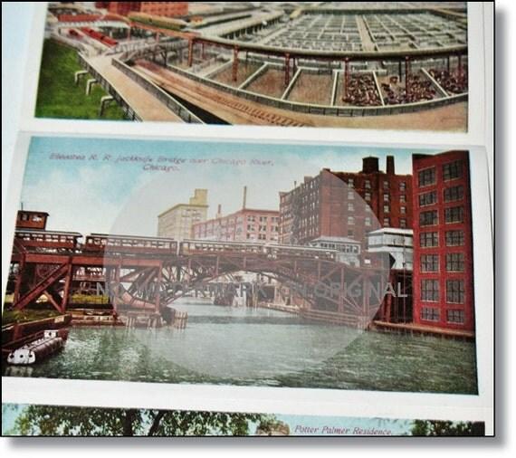 Antique Postcard Booklet, Vintage Postcards : Rare Antique CHICAGO1918 Touring  Guide