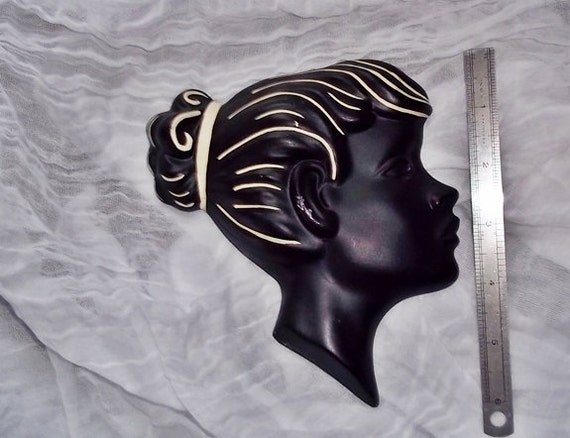 Vintage Wall Hanging Portrait : Lovely Duron Girl Wall Mask