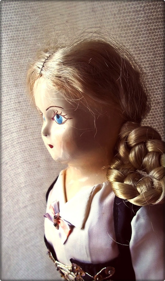 Vintage Doll :  Darling Paper Mache Combination Doll