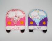 Personalised VW Campervan Handmade gift Felt & Fabric pink/purple