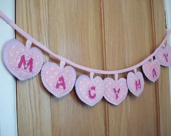 Name Bunting/banner/Garland Handmade felt and fabric pink gift UK seller