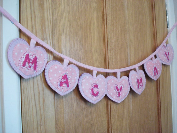 Name Bunting/banner/Garland Handmade felt and fabric pink gift UK seller