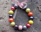 Mixed 8 COLORS-- Ceramic Porcelain 14mm Round Ball Beads Set -- 32pcs
