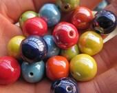 Porcelain Ceramic 16mm Round Beads Colorful Set -- 18pcs
