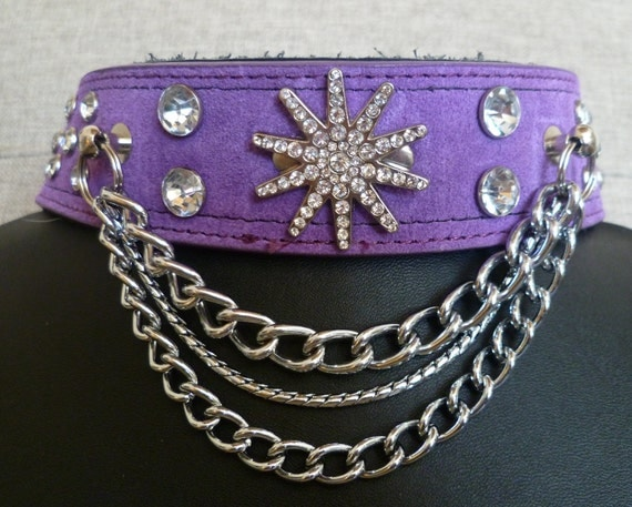 X-LARGE-XXL Rockstar Punk Princess Purple Dog Collar