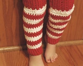 Candy Cane Crochet Legwarmers Girl's size 2-4T