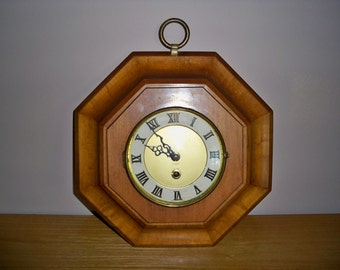 Vintage 1960's Million Rutherford Co. Wooden Octagon Wall Clock With 8 Day Endura of France Movement