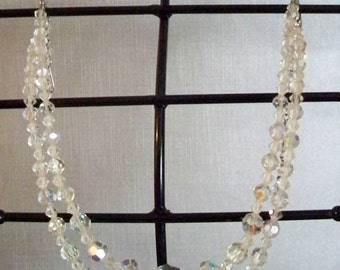 Vintage Sarah Coventry Double Strand Crystal Bead Necklace