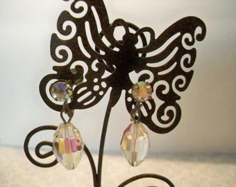Vintage Aurora Borealis Crystal Drop Earrings With Screw Backs