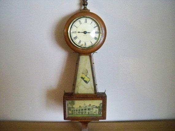 Vintage 1925-1935 Burroughs Mini 8 Day Banjo Clock