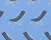 It's A Shore Thing - Sling Chairs in Blue by Dear Stella 1/2 yd Cotton Quilt Fabric