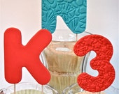Edible Fondant Number or Letter on a stick- use for smash cakes or cake toppers