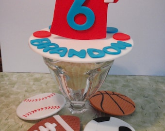 All Star Sports Personalized Edible Fondant Cake Topper -  Sports Jersey with base