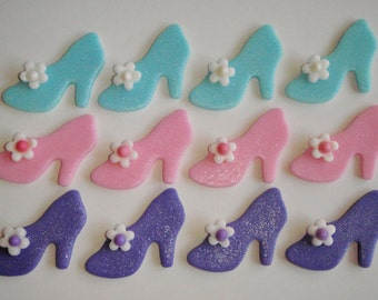 Fondant Shoe Cupcake Topper or Cake Decorations - Cinderella Style - Perfect for Birthdays, Wedding Showers, Bachelorette Parties