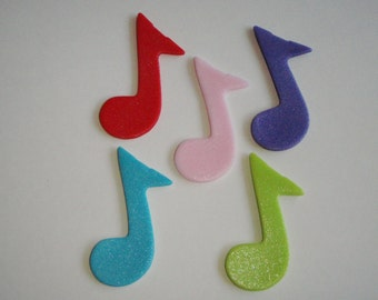 Music Notes Edible Fondant Cupcake Topper Decorations- Great for Band, Rock Star or Sock Hop Parties