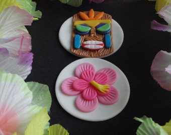 Luau Tiki Idol and Hibiscus Flower Fondant Cupcake Topper Decoration Set Perfect for Hawaiian, Summer, Beach, Wedding, Birthday or parties