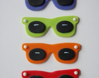 Fondant Sunglasses Cupcake Toppers  great for luau, summer or beach parties