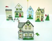 Christmas village paper houses DIY PDF.
