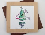 Christmas card magnet ... tiny gift ... fancy topiary