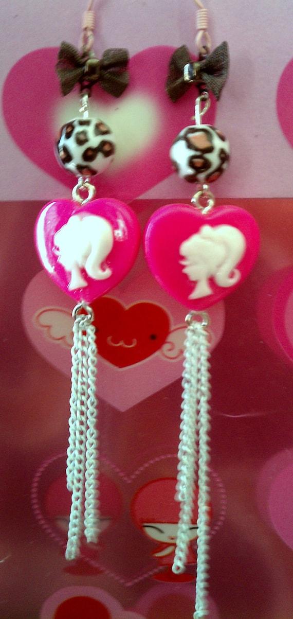 Kawaii Barbie Silhouette Heart Earrings