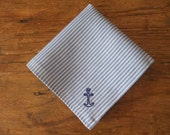 RESERVED LISTING: Blue and white striped handkerchief with hand embroidered blue anchor