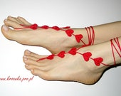 Barefoot Sandals - Valentines Red Heart, Valentine's Day gift, many colors